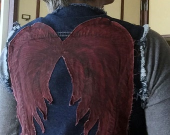 Denim Vest - Blue with Red Angel Wings - Inspired by Walking Dead's Daryl - Reused Recycled Repurposed