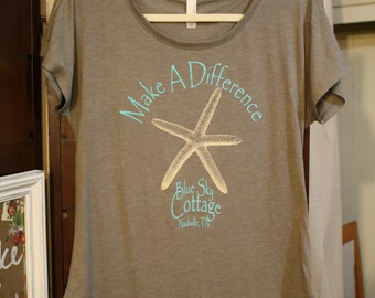 Starfish T-Shirt, Short Sleeve T-Shirt, Size Large T-Shirt, Make A Difference, Nashville Tennessee, Gift For Her