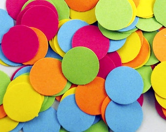 Funfetti Paper Large Confetti  Dots in  South Beach Mix  250 Pieces