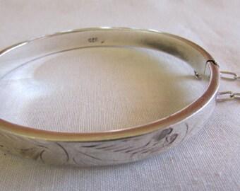 Engraved Sterling Silver Hinged Bangle Bracelet