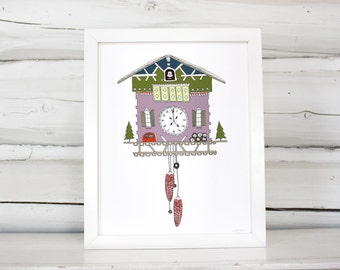 Cuckoo clock print, cuckoo clock illustration, wall art, modern home decor
