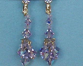 Light Amethyst Crystal Chandelier Clip Earrings