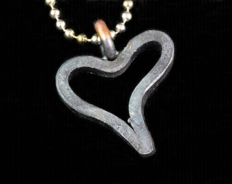 Iron heart pendant -- i11888