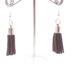 Dark Brown Fringe Dangle Earrings