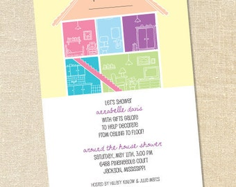 Sweet Wishes Around the House Bridal Shower Invitations - PRINTED - Digital File Also Available