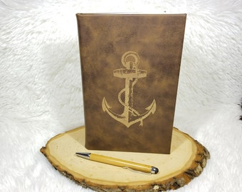 Anchor Journal - Faux Leather Journal - Laser Engraved - Nautical Diary