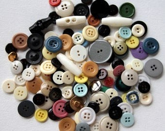 Vintage Mixed Buttons, Variety Lot, Sewing, Craft, Findings, Novelty, Scrap Booking, Gems, Many Sizes, Multi Colored, Three Ounces 1B