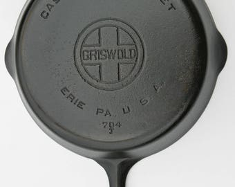 Antique GRISWOLD No. 8 Large Block Logo Restored Cast Iron Fry Pan Professionally Cleaned, Organically Seasoned, Use Right Out of the Box