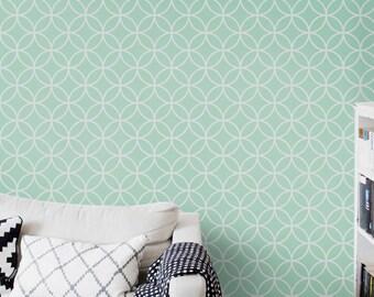 Self adhesive vinyl temporary removable wallpaper, wall decal - Circles lattice pattern print  - 035 MINT/ VENICE