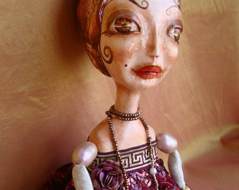 Boudoir flapper doll, Gatsby style SHERYL, poseable interior doll, OOAK, vintage art deco style