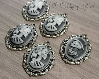 "Skeleton Cameo Pendants Gothic Cameo Skull Cameo Skeleton Pendants Lolita Cameo Skeleton Lady Cameo Oval Pendants 1.5"" 5 pieces PREORDER"