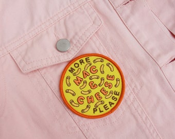 Mac & Cheese Embroidered Iron On Patch - Yellow - Macaroni - Mac n Cheese - Cheese Lover - Carb Lover - Gift