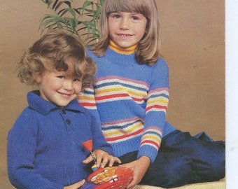 Patons Childrens Knitting Book No 609 Vintage 1970's - Family 8 Ply
