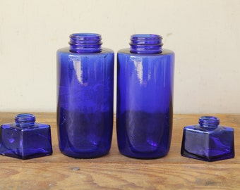 Collection of Vintage Cobalt Blue Glass Bottles Apothecary Ink Decorating Props