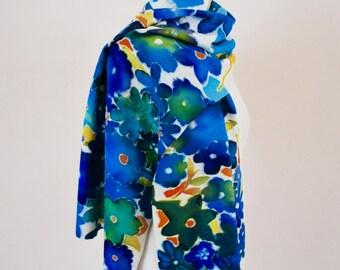 Flower Garden  Hand painted on silk  Vintage Kimono Fabric .