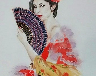 Spanish Lady with Fan,flameco, large painting,fine art,Catalonia.gypsy girl,vibrant colour,spanish holiday,figure painting,designer art,fan