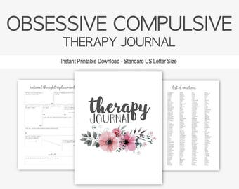 Obsessive Compulsive Disorder Therapy Journal: Mental Health, OCD, Depression, Anxiety, Obsession, Compulsion, Instant Printable Download