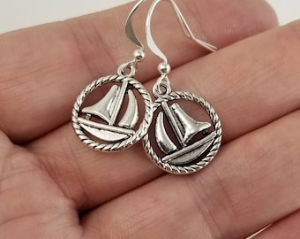 Sailboat Earrings, Boat Earrings, Sailing Earrings, Nautical Earrings, Nautical Jewelry, Summer Earrings, Summer Jewelry, Gift For Her
