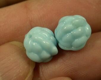 VINTAGE GERMAN GLASS Beads Turquoise Blue 10mm pkg2 gl488