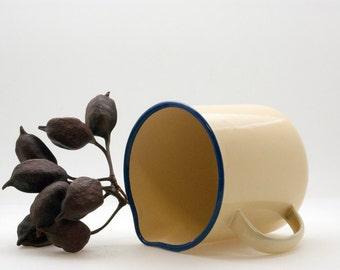 Enamel Mug, Enamelware Yellow Pitcher Cobalt Blue Trim, Rustic Farmhouse Decor, Enamel Kitchenware, Retro Kitchen Decor, Camping Pitcher