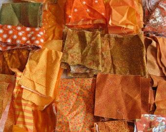 Stash-Buster Orange Cotton Quilting Fabric Scraps