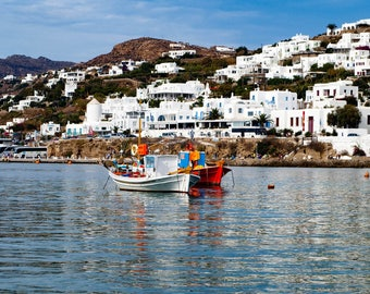 Boats Anchored in the Old Port of Mykonos Greece.  Fine Art Photography wall art travel photo