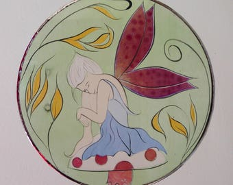 painting on glass stained glass fairy on a mushroom