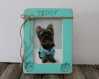 Dog Picture Frame Personalized Dog Frame Rustic Picture Frame Paw Print Frame Pet Frame