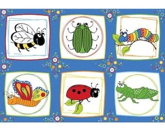 BUGSBOO BLOCKS-  Panel- Adornit- Cotton Fabric- Quilt- Sew- Craft- Quilt Cotton