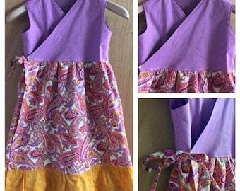 Boho/Hippie Wrap Dress, girls size 8