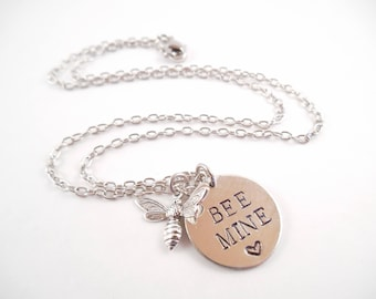 """Bee Mine Necklace - """"Bee Mine"""" Metal Stamped Valentine's Day Charm Necklace"""