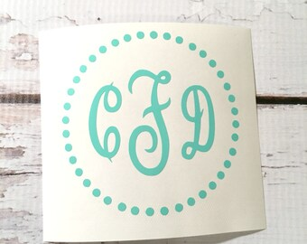 Circle Dots Monogram Vinyl Decal Notebook Decal Small Monogram Decal Preppy Personalized Sticker Three Initials