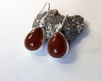 Carnelian earrings, teardrop, pear shaped, solid 92.5 sterling silver