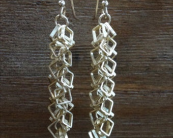 Satin Hamilton Gold Square Link Chain Earrings