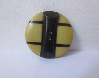 Antique 1910s/1920s Yellow & Black Art Deco Thin Celluloid Plastic Button, 1.5 Inch Diameter