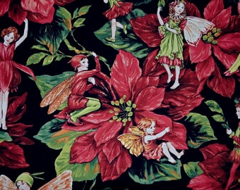 Fabric Holiday Fairies Christmas elves Michael Miller Cicely Mary Barker Christmas red green floral fabric elf on the shelf faeries