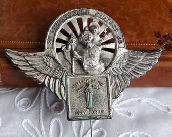 St Christopher Visor Pin, Auto Badge, Automobile Travel Protection Guidance, Lady of Highway, Vintage Patron Saints Emblem, RV Camper Plaque