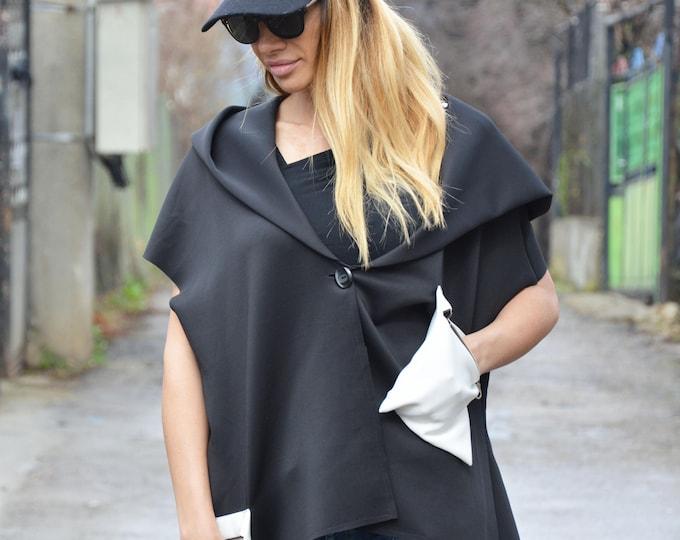 Woman Neoprene Hooded Jacket, Maxi Vest, Asymmetrical Jacket, Oversize Sexy Top, Extravagant Tunic, Black Blouse by SSDfashion
