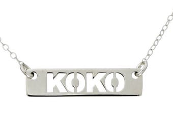 STERLING SILVER Carved Out Nameplate Necklace