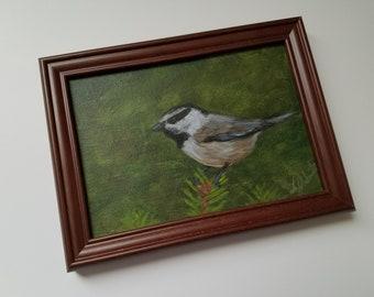 Thinking Spring III - Acrylic Painting - Framed on canvas board - Original art - Small art