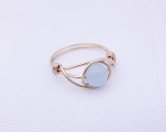 Candy blue gemstone ring, blue stone ring, wire ring, gold ring, gold wire ring, wire wrapped ring, wire stone ring simple ring, unique ring