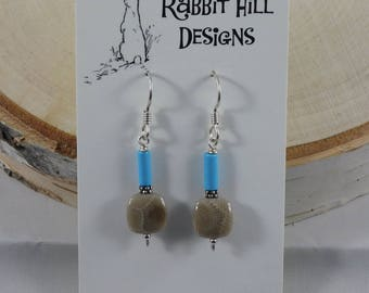 Petoskey Stone Earrings with Turquoise