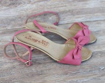 Vintage pink sandals Pink leather shoes  Elegant women shoes Sandals heels Leather shoes  High heel sandals Ladies sandals Vintage high heel