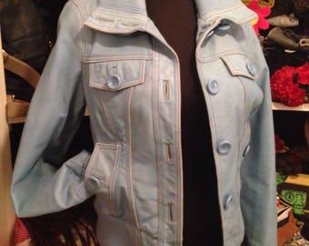 Light sky blue leather jacket coat