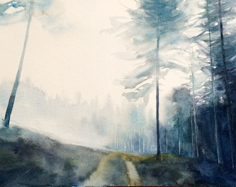 Forest painting, forest watercolor, Misty forest, Peak District, Misty pine forest, watercolor trees, watercolor painting, foggy forest