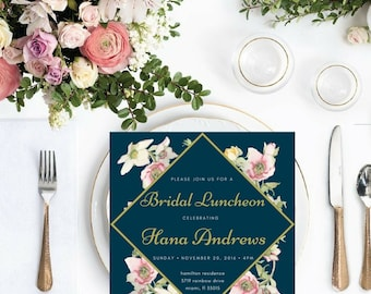 Vintage Florals Luncheon, Bridal Luncheon/Bridal Party invitation, digital download, customizable, printable