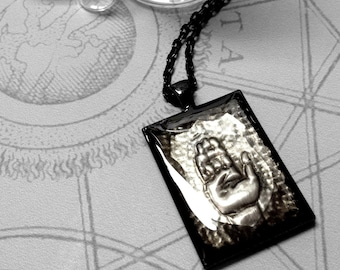 Hand Shield : hand embossed repoussé metal pendant necklace