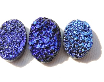 3 Pieces Beautiful Natural Dark Blue Titanium Coated Druzy Oval Shaped Beads Size 25X17-24X16 MM