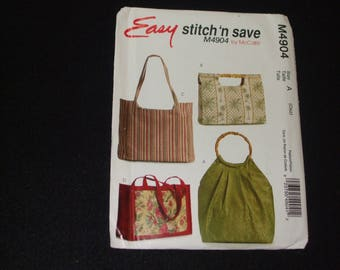EASY  Stitch 'n Save  by McCall's  - M4904, 4 Handbags and Totes