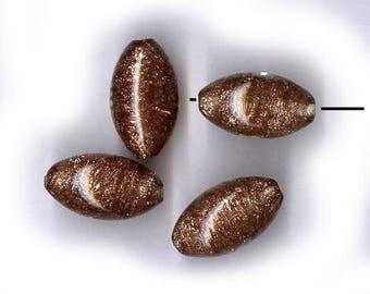 vintage murano ART GLASS beads bicone beads, FOUR beads 22mm x 13mm art glass antique beads vintage beads